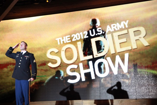 On Sunday, Sept. 30, SGT Drake DeLuca renders honors while introducing the season finale of the 2012 U.S. Army Soldier Show to an audience at Fort Sam Houston.