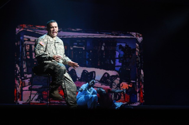 SGT Jon Whittle performs a solo during the season finale of the 2012 U.S. Army Soldier Show at Fort Sam Houston on Sept. 30.