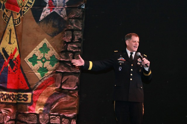 LTG Mike Ferriter delivers remarks following the 2012 U.S. Army Soldier Show season finale at Fort Sam Houston on Sept. 30.