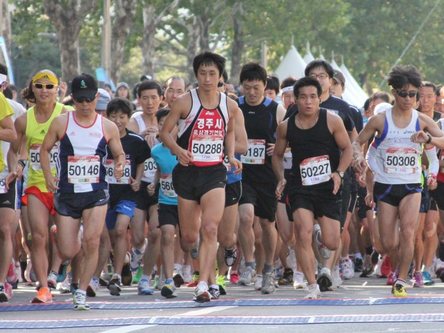 American troops participate in Gangnam Marathon