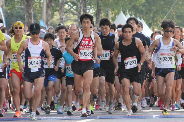 "More than 300 U.S. troops, civilians and family members participated in the Gangnam Marathon in Seoul, Oct. 3, 2012.  The affluent area was recently made famous by South Korean performer Psy's ""Gangnam Style"" video."