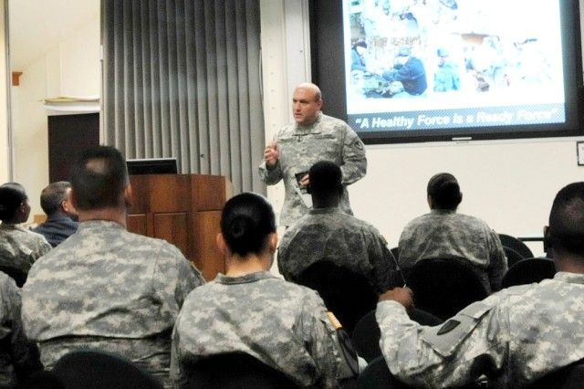 """Brig. Gen. John F. Wharton, commanding general, Army Sustainment Command, presents a safety """"stand down"""" message Sept. 27 at the Baylor Conference Room in Building 103 to officially kick off the command's suicide prevention """"stand down."""" (Photo by Capt. Jonathan Knapton, ASC Public Affairs)"""