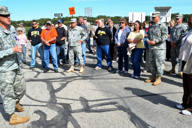 Chaplain (Maj.) Scott Fluegel, Joint Munitions Command, shares his thoughts on the importance of asking if someone is thinking of committing suicide with walkers. (Photo by Galen Putnam, ASC Public Affairs)