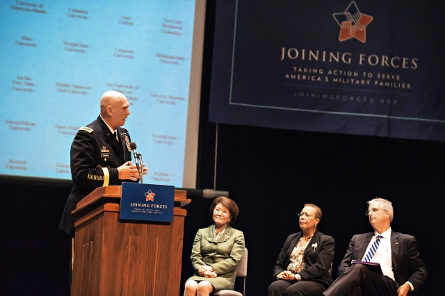 "Army Chief of Staff Gen. Ray Odierno speaks about raising his children while serving in the military during a ""Joining Forces"" campaign event on educating educators at George Mason University in Fairfax, Va., Oct. 3, 2012."