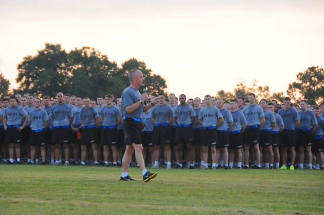 Maj. Gen. Kevin W. Mangum, USAACE and Fort Rucker commanding general, speaks to a formation of about 3,000 Soldiers to motivate and to educate them on the importance of suicide prevention Sept. 27.
