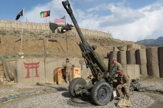 Rakkasans from the 3rd Battalion, 320th Field Artillery Regiment, 3rd Brigade Combat Team, 101st Airborne Division (Air Assault), conduct a series of training exercises on their M119A2 105mm Howitzer at Combat Outpost Herrera, Afghanistan, Sept 27, 2012. (Photo by: Army 1st Lt. Bryan Spears, 3-320th UPAR)