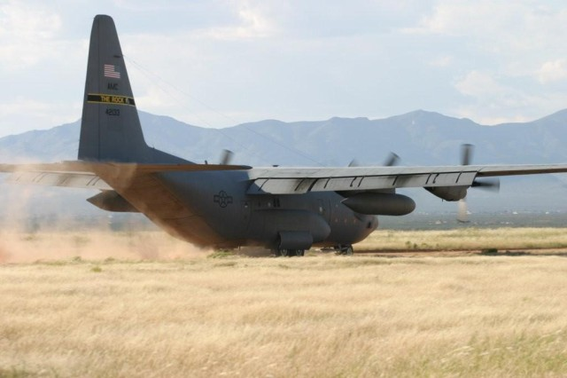 An active duty Air Force crew from Little Rock Ark., lands their C-130 aircraft at the Hubbard landing zone as part of their training on Fort Huachuca last week.