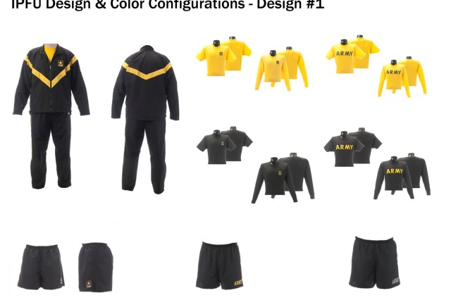 Improved Physical Fitness Uniform design and color configuration, design option #1