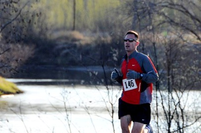 First Lt. Benov participates in the Army 10-Miler qualifying run at Fort Wainwright, Alaska, May 18. Benov, who was born in Bulgaria and grew up in Durham, N.C., placed first in the Equinox Ultra Marathon in North Pole, Alaska, Sept. 15, clocking in at 5:36:02.