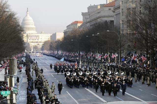 Joint Force commanders and the U.S. Army Band march down Pennsylvania Avenue to lead off the 2009 presidential inaugural parade in Washington, D.C., Jan. 20, 2009. More than 5,000 men and women in uniform provide military ceremonial support to the presidential inauguration