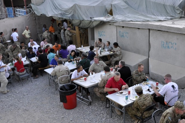 U.S. Army Corps of Engineers employees, recovering Soldiers and 1972nd Medical Detachment personnel got together for a cookout hosted by the 1972nd Sept. 29 at the Wounded Warrior Recovery Center on Kandahar Airfield, Afghanistan. (USACE Photo by Karla Marshall)