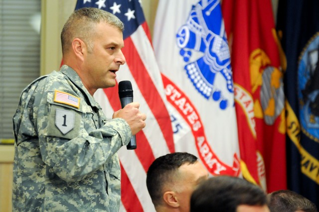 Col. Robert Law, 1st Infantry Division sustainment chief, asks Gen. Martin Dempsey, chairman of the Joint Chiefs of Staff, a question during the Oct.1, 2012, town hall at Fort Riley, Kan. Dempsey visited the Flint Hills post following a stop at Kansas State University where he spoke to more than 1,000 Soldiers, students, faculty and staff, and community members about the importance of helping veterans return to work, school and their families following more than a decade of war.