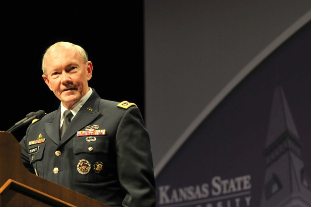 Gen. Martin Dempsey, chairman of the Joint Chiefs of Staff, addresses a crowd of more than 1,000 Soldiers, students, faculty and staff at McCain Auditorium on the Kansas State University campus, Oct. 1, 2012, as part of the Landon Lecture series. Dempsey spoke about the importance of helping veterans return to work, school and their families following more than a decade of war.