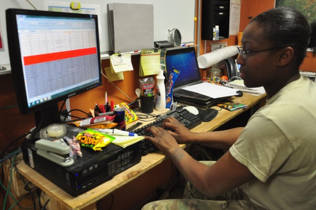 Spc. Laquida R. Wilson, a transportation administrator specialist with the 622nd Movement Control Detachment, works on a cargo transportation report on Oct. 3, 2012 at Forward Operating Base Shank. The cargo transportation report tracks how much cargo moves in and out of the units ground yard on a daily basis.