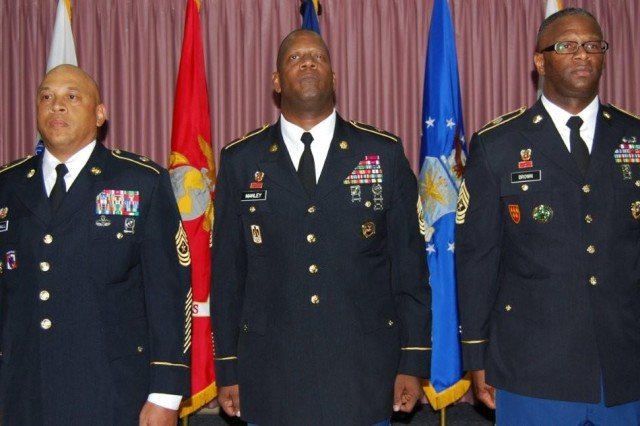 From left, Sgt. Maj. Cary Marshall, the out-going senior enlisted leader for the Joint Interoperability Test Command stands with Command Sgt. Maj. Donald Manley, the senior enlisted advisor for the Defense Information Systems Agency and Sgt. Maj. Lewis Brown, the in-coming senior enlisted leader for JITC after the change of responsibility ceremony, here on Oct. 4. After the ceremony, Marshall retired, serving 32 years in the U.S. Army and nearly four years of service to JITC, an organization charged with testing, evaluating and certifying communication and information systems and products for joint use.