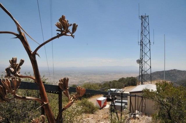 The TV Hill antenna site of the Land Mobile Radio system resides in the Huachuca Mountains at an elevation of 6,960 feet above sea level.