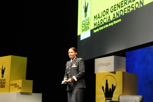Maj. Gen. Marcia Anderson, Deputy Chief, U.S. Army Reserve, discusses the sacrifice that Soldiers give to their country, and that Army Reserve Soldiers are intertwined in the civilian community. Anderson explained that these citizen-Soldiers are our dentists, lawyers, and mechanics, but they are also much more than that in their Army careers.   Anderson explained the skill, education and discipline that Soldiers obtain in the Army, and how that value carries over in the civilian work force.