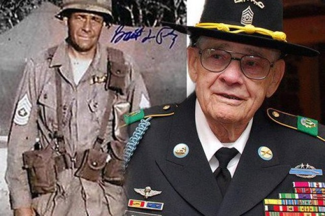 "Retired Command Sgt. Maj. Basil L. Plumley, former command sergeant major of 1st Battalion, 7th Cavalry Regiment ""Garry Owen,"" 1st Cavalry Division, died Oct. 10, 2012. Plumley was portrayed by Sam Elliot in the film ""We Were Soldiers."""