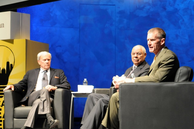(Left) Tom Brokaw, renowed television journalist and host of the Chicago Ideas Week 'Military Talk' discusses with retired US Army Gen. Colin Powell, former Secretary of State, National Security Advisor, and Chairman of the Joint Chiefs of Staff; and (Right) retired US Army Gen. Stanley McChrystal, former commander of US Forces, Afghanistan; the reasons why Soldiers join the military, their sacrifices that they make while they serve, and the value that they carry when they return home.