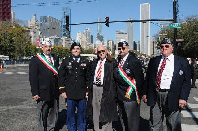 Capt. Jerry Giovanelli with members of the Italian Police Association at the City of Chicago Columbus Day Parade.