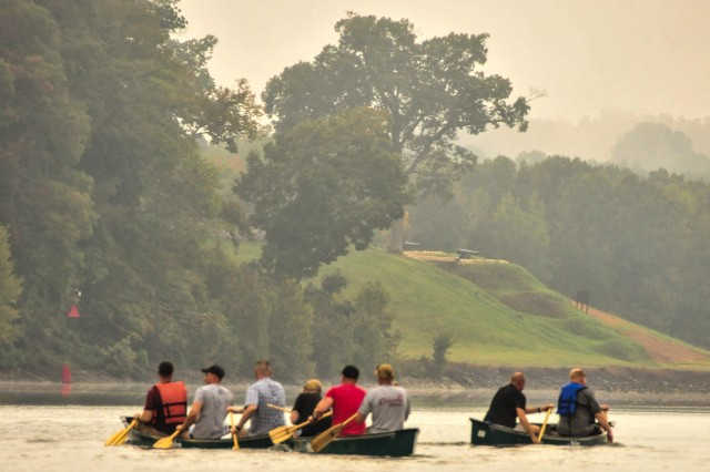Officers and senior enlisted with 1st Battalion, 502nd Infantry Regiment, 2nd Brigade Combat Team, 101st Airborne Division (Air Assault), paddle up to the Fort Donelson Battlefield on Tennessee's Cumberland River, Sept. 28. This battlefield held significance in the Civil War because of the collaboration between land and naval efforts.