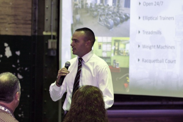 Kyle Buono, the Arsenal Fitness Program Supervisor, providing an overview of available stress relievers at the Arsenal.