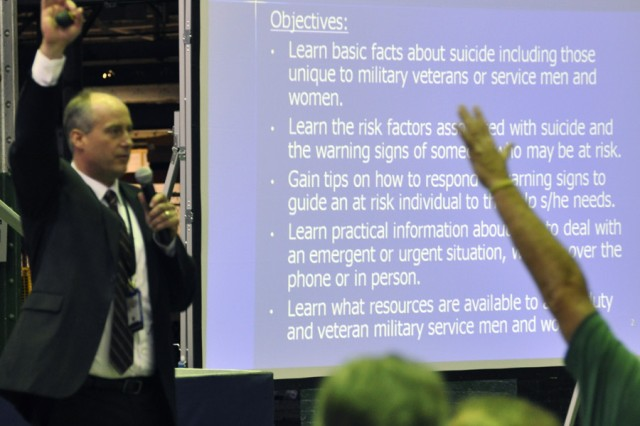 Dr. Joseph Hunter, who is the Albany VA Medical Center's Suicide Prevention Coordinator, providing training.