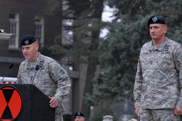Maj. Gen. Stephen R. Lanza, commanding general of the 7th Infantry Division, speaks during the unit's reactivation ceremony Oct. 10, 2012, at Joint Base Lewis-McChord, Wash.