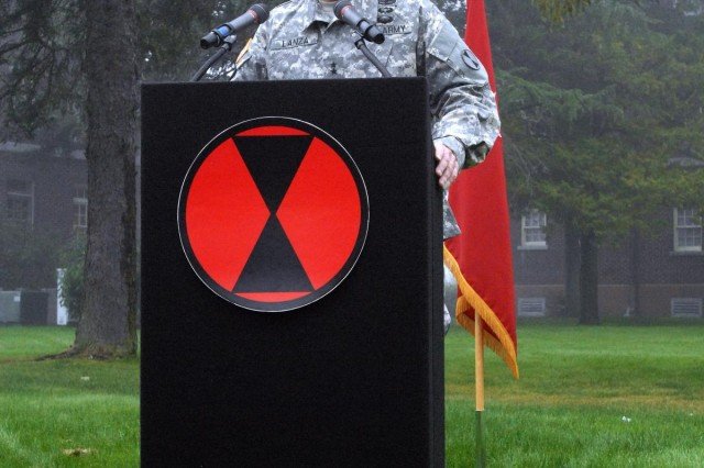 Maj. Gen. Stephen R. Lanza, commanding general of the 7th Infantry Division, talks to local reporters Oct. 10, 2012, during a press briefing. Following the briefing, Lanza, alongside Command Sgt. Maj. Delbert D. Byers, 7th Inf. Div. command sergeant major, uncased the division's colors during a reactivation ceremony at Watkins Parade Field, Joint Base Lewis-McChord, Wash. Lanza said he was honored to have been chosen to command the division, which was last inactived at Fort Carson, Colo., in 2006.