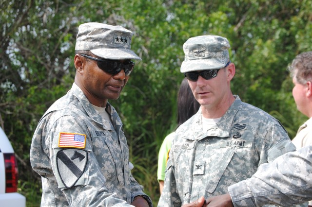 Lt. Gen. Thomas P. Bostick, commanding general of the U.S. Army Corps of Engineers and Col. Alan Dodd, Jacksonville District commander, visited the Tamiami Trail Modifications project and Everglades National Park Oct. 10, 2012.