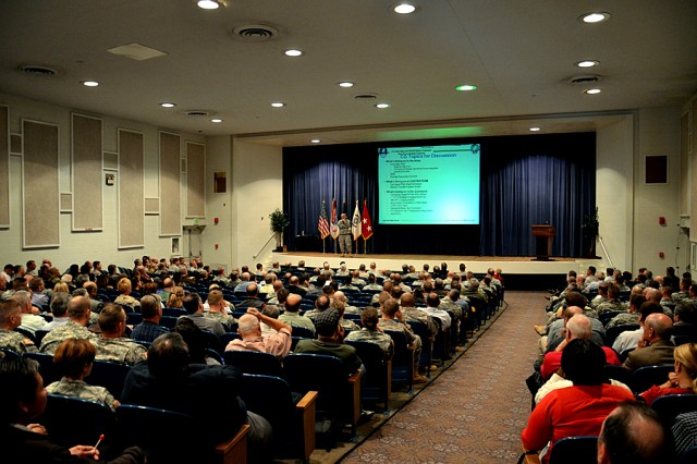 The U.S. Army Space and Missile Defense Command/Army Forces Strategic Command Colorado Springs, Colo., workforce listen as Lt. Gen. Richard P. Formica, SMDC's commanding general, briefs during the command's town hall at Peterson Air Force Base Oct. 10.