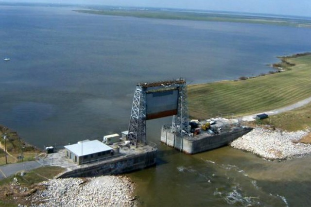 The Corps' Hurricane Protection Structure at Texas City protected the vital petrochemical complex there during Hurricane Ike in September 2008.