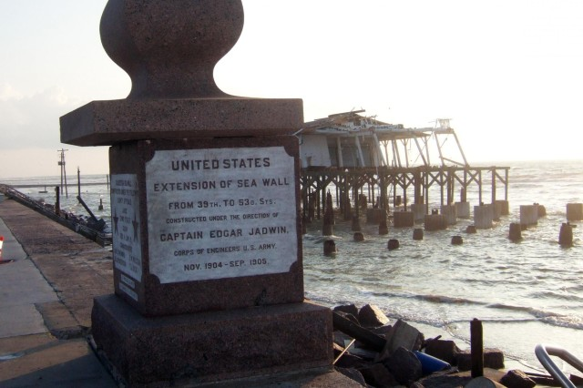 A pillar commemorating the Army Corps of Engineers' involvement in building the original Galveston Seawall remains standing after Hurricane Ike in September 2008.