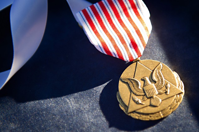 An Outstanding Civilian Service medal sits on a tray prior to an award ceremony hosted by Army Chief of Staff Gen. Raymond T. Odierno at Joint Base Myer-Henderson Hall, Va., Oct. 11, 2012.