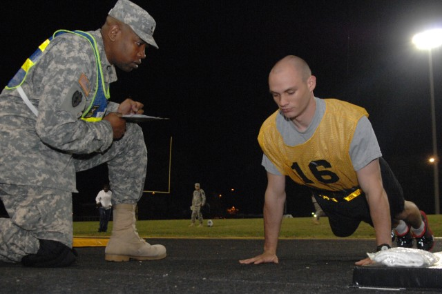 Then Spc. Brandon Kitchen maintains a good pushup posture during the 2011 Best Warrior Army Physical Fitness Event, Oct. 3, 2012, at Williams Stadium, Fort Lee, Va. Kitchen is a satellite systems network coordinator and is representing the U.S. Army Space and Missile Defense Command at Best Warrior.  He is the only returning contestant from last year's event.