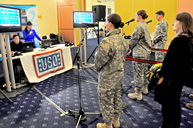 Wiesbaden Soldiers and family members try a practice round of Jeopardy during the audition process, Oct. 12, 2012.