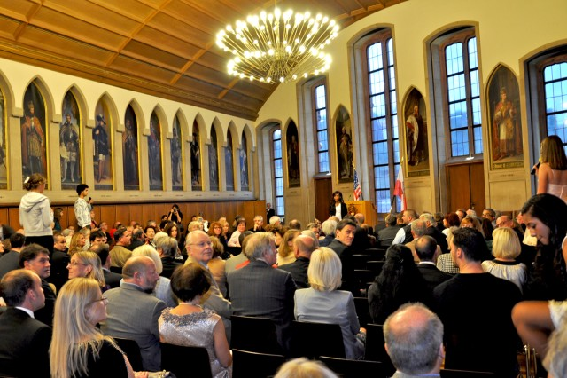 """German and American youths recite an original poem, """"The Flowers of Friendship,"""" written by Kayla Asha Hewitt, during a ceremony to honor the completion of the UnderstandinG project in the Frankfurt Roemer (city hall) Oct. 6 -- German-American Day."""