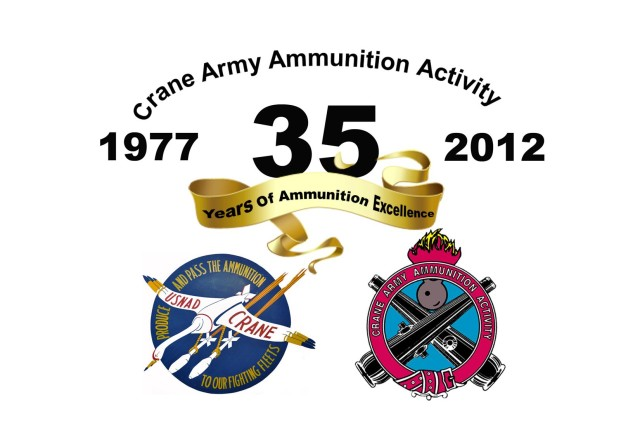 The official Crane Army Ammunition Activity 35th Anniversary graphic.  The logo in the lower left is the original logo for NAD Crane from World War II.  CAAA took over the ammunition mission from the Navy in 1977.  The Logo in the lower right is the current CAAA logo.  The theme for the anniversary is 35 years of ammunition excellence.