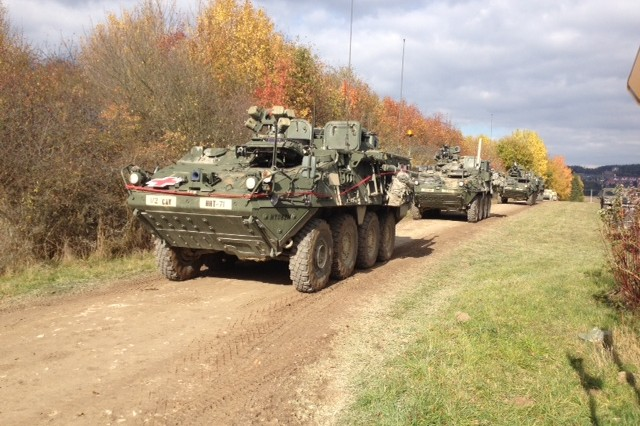 Soldiers from U.S. Army Europe's 1st Squadron, 2nd Cavalry Regiment convoy though the Maneuver Rights Area in route to the Joint Multinational Readiness Center's Hohenfels Training Area, Oct. 16. The mission is part of U.S. Army Europe's exercise Saber Junction which trains U.S. personnel and more than 1,800 multinational partners from 18 different nations in joint interoperability.