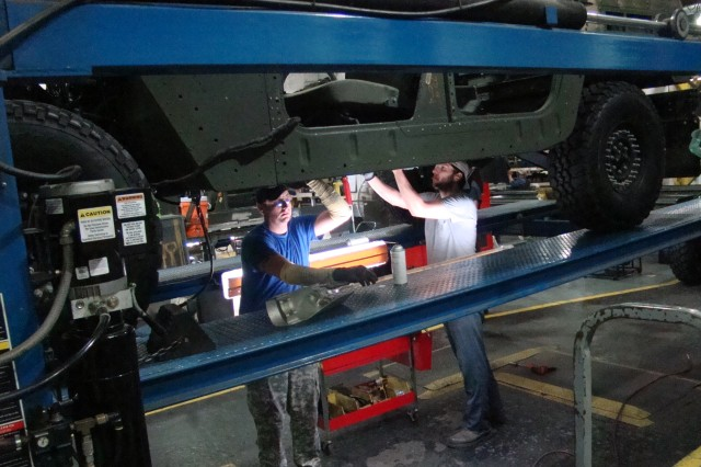 In mid 2004, employees could only produce three vehicles per week. Through lean techniques, Red River revamped the entire Humvee repair process from bay style to a complete assembly line.