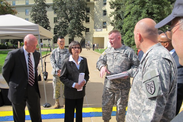 Assistant Secretary of the Army for Acquisition, Logistics and Technology Heidi Shyu toured the Pentagon courtyard, Oct. 10, 2012, to view an equipment demo by Product Manager, Radars.