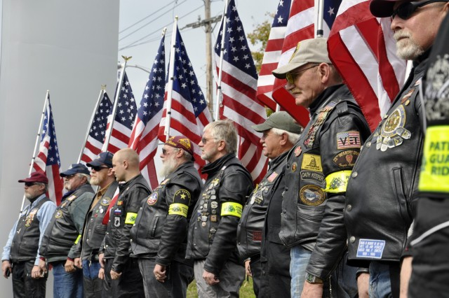 Patriot Guard Riders providing a fitting backdrop to the ceremony.