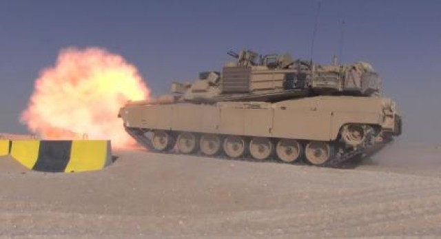 An M1A2 System Enhancement Package V2 Abrams Main Battle Tank, near Camp Buehring, Kuwait.