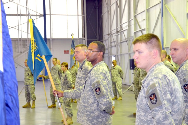 Army Space Soldiers from the 117th Space Battalion watch the change of responsibility ceremony Oct. 14.