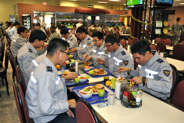 Korean National Police are given a brief tour of the garrison and visit D-Fac for lunch during KNP Appreciation Event, Oct. 15 (U.S Army photo by Pvt. Lim Hong Seo)