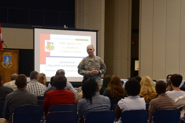 Col. Michael Graese, garrison commander, addresses delegates of the Fort Jackson Army Family Action Plan Conference Friday at the Solomon Center. The 22 delegates identified issues and recommendations to be forwarded to TRA DOC for resolution at a higher level.