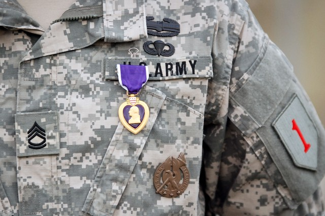 Sgt. 1st Class Michael Labadie's newly pinned Purple Heart rests on his uniform Oct. 11, after a ceremony at Fort Riley. Labadie and eight others with the 4th Sqdn., 4th Cav. Regt., were presented with Purple Heart medals after sustaining injuries during the squadron's deployment to the Zhary District of Kandahar Province, Afghanistan. The troopers returned February to Fort Riley.