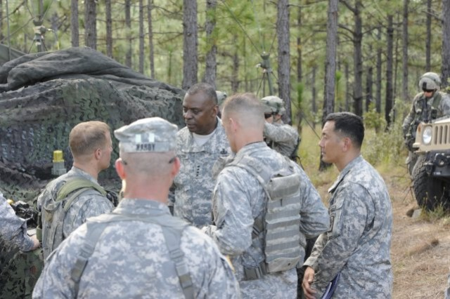 Vice Chief of Staff of the Army Gen. Lloyd J. Austin III speaks with Soldiers training at the Joint Readiness Training Center at Fort Polk, La. Austin visited the post Oct. 11-12, 2012, to observe the first JRTC and Fort Polk Decisive Action rotation and meet with Soldiers on resilience, readiness and the health of the force.  (U.S. Army photo by Spc. James Muir)
