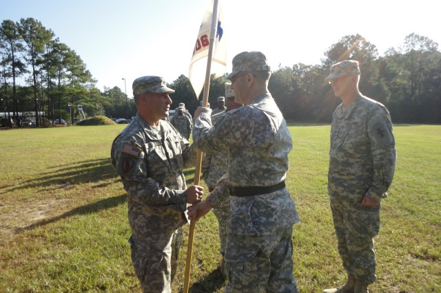 FORT JACKSON, S.C.--Col. Mark Ricchiazzi, a native of Buffalo, N.Y., takes command of 206th Army Liaison Detachment, 412th Theater Engineer Command, in a ceremony held here Oct. 13, 2012.