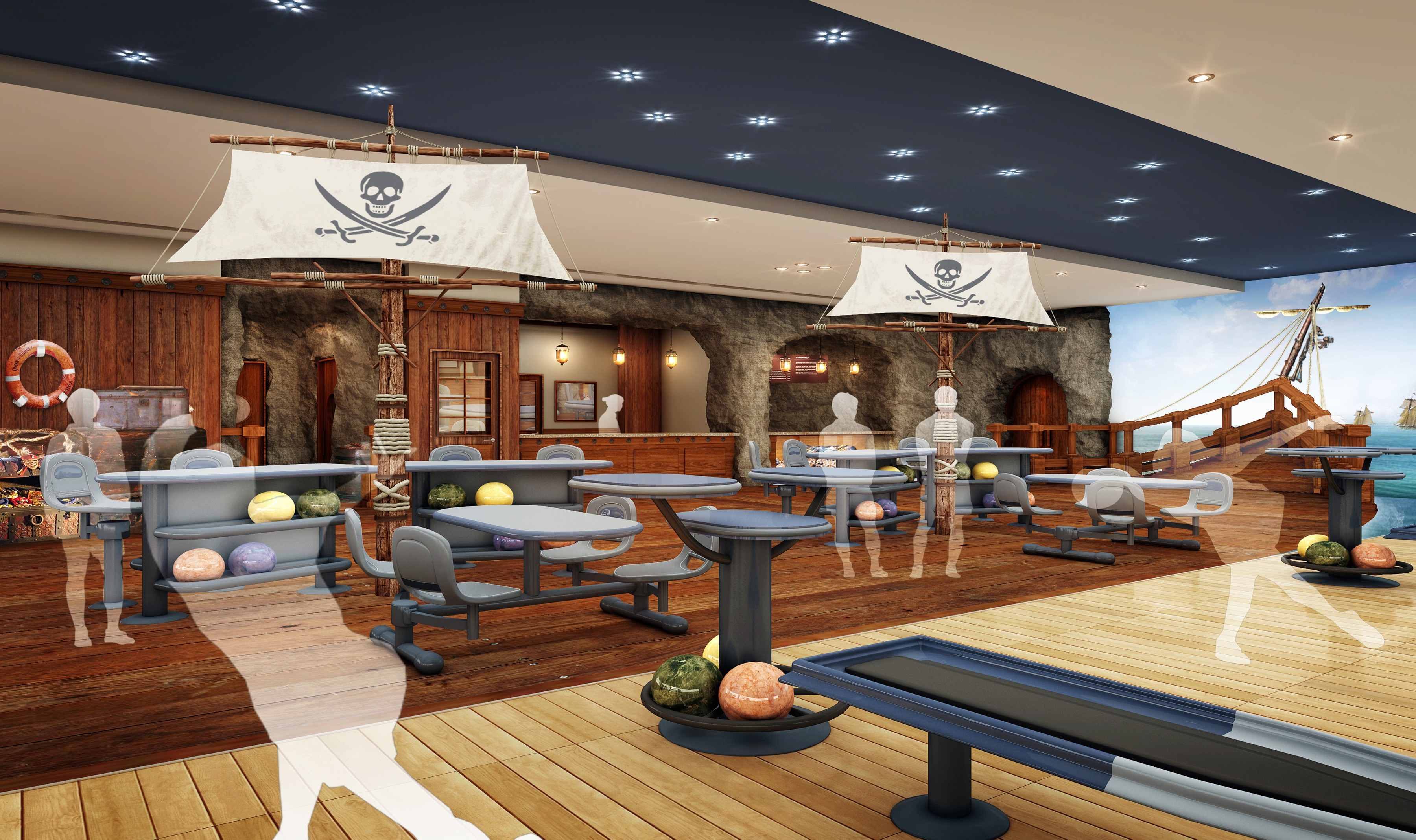 casey lanes get major renovation pirate themed interior aims at rh army mil pirate ship interior design